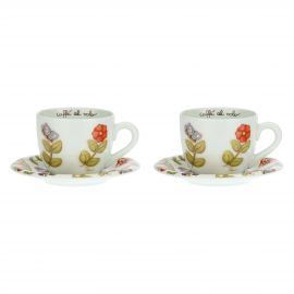 Set 2 tazze Country con fiori colorati