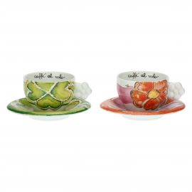 Set of 2 pink and green Happy cups