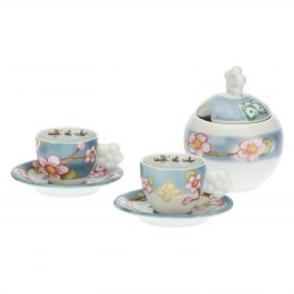 Set of 2 Fiori Di Pesco coffee cups with sugar bowl