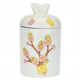 Fiori Di Pesco porcelain jar with yellow butterfly