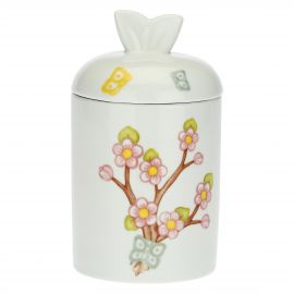 Fiori Di Pesco porcelain jar with blue butterfly