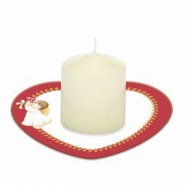 Candela con piattino porta candela Dolce Natale