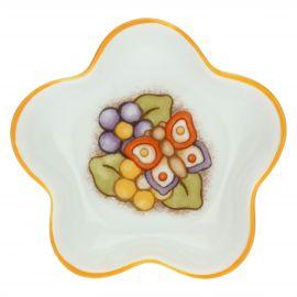 Teebeutelablage aus Porzellan Country in Blumenform mit Schmetterling