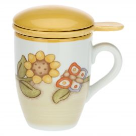 Country porcelain herbal tea mug with sunflower and butterfly