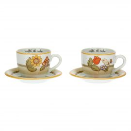 Set of 2 Country cups with flowers, butterfly and bird