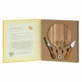 Set of Country cheeseboard with 2 knives for cheese
