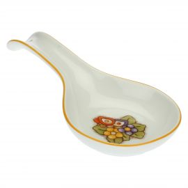 Country porcelain spoon rest with butterfly and flowers