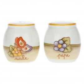 Country porcelain salt and pepper set
