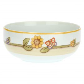Country porcelain bowl with sunflower and butterfly
