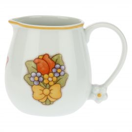 Country porcelain jug with butterfly, tulip and flowers