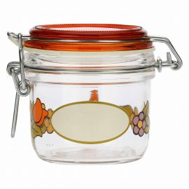 Airtight Country glass jar with sunflower and butterfly