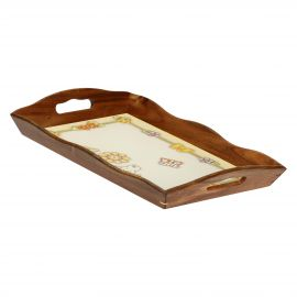 Country acacia wood tray