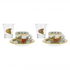 Set of 2 Country coffee cups and 2 liqueur glasses