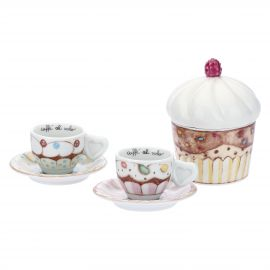 Set of 2 Sweetcake coffee cups with sugar bowl