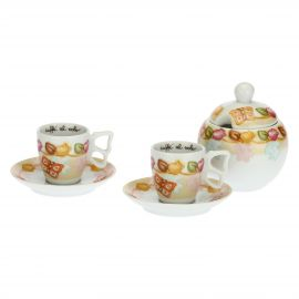 Set of 2 Grace coffee cups with sugar bowl