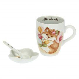 Set of Grace mug, teabag dish and teaspoon