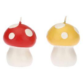 """Set 2 candele a forma di fungo """"Bosco incantato"""""""