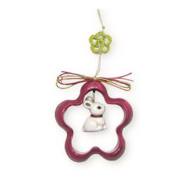 Mini wooden flower with rabbit