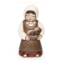 Donna con cesta di pane Presepe Giubileo variante rossa
