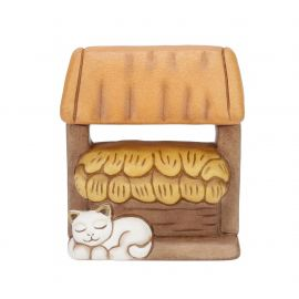 Manger with cat for Traditional Nativity Scene