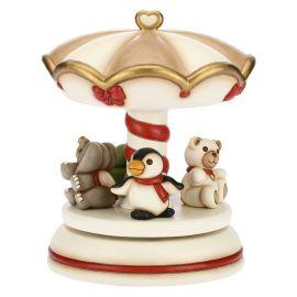 Giostra carillon grande con amici del Natale elefante, pinguino, tartaruga e Teddy