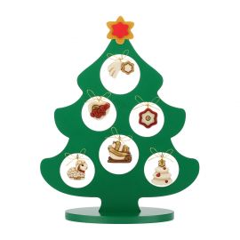 Set wooden tree with 6 mini Christmas ceramic decorations
