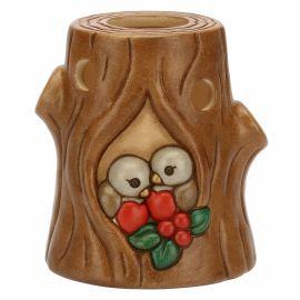 """Porta candela in ceramica a forma di tronco con pettirossi """"Preludio d'inverno"""""""