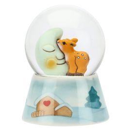 """Palla di vetro cerbiatto """"Preludio d'inverno"""" con luna media"""