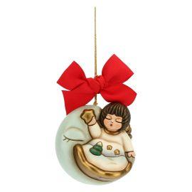 Addobbo per albero di Natale angelo su luna maxi