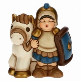 Soldier with horse for the Traditional Nativity Scene, blue version