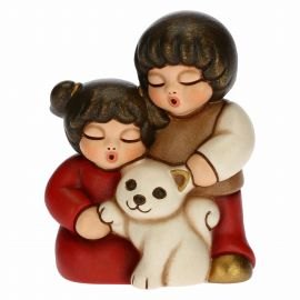 Two children with cat for Traditional Nativity Scene, red version