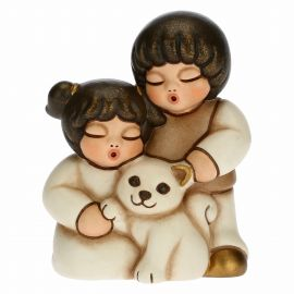 Two children with cat for Traditional Nativity Scene, white version