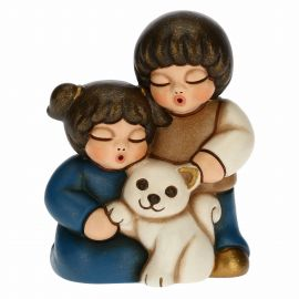 Two children with cat for Traditional Nativity Scene, blue version