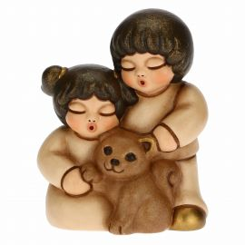 Two children with cat for Traditional Nativity Scene, beige version