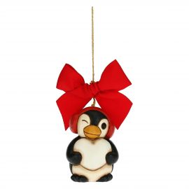 Penguin with heart Christmas tree decoration