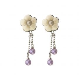 Earrings Old Classic Marguerite Blanche