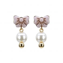 Earrings Ribbon And Pearls Degrade