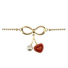"""Bracciale """"Love drops"""" placcato in oro con cuore pendente"""