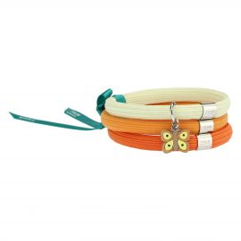 """Farfalle in Festa"" orange elastic Impulse bracelet with butterfly"