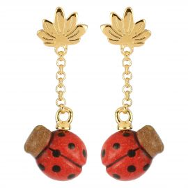 """Savana story"" Current gold-plated earrings with ladybird"