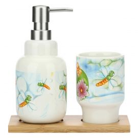 "Set soap dispenser and nail brush holder ""Acqua dolce"""