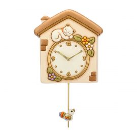 Pendulum clock cat and bird