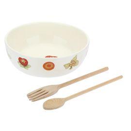 """Set insalatiera in ceramica con 2 mestoli in legno """"Salt cake"""""""