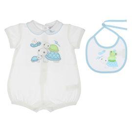"Gift set baby boy romper and bib 0-3 months THUN & OVS in bio cotton ""Dolci amici"""