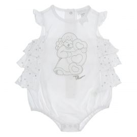 "THUN & OVS ""Sweet Angel"" short baby girl's romper suit in organic cotton - 3-6 months"