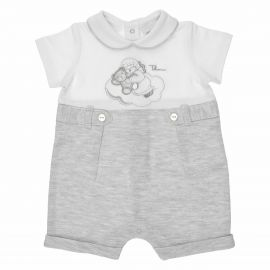 "THUN & OVS ""Sweet Angel"" short baby boy's romper suit in organic cotton - 1-3 months"