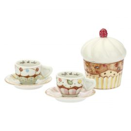 "Set 2 espresso cups and sugar bowl ""New sweet cake"""