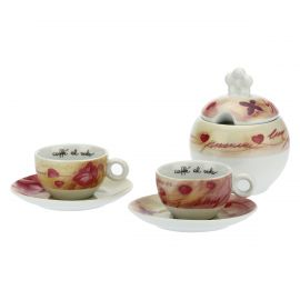 "Set 2 coffee cups and sugar bowl ""Amore primavera"""