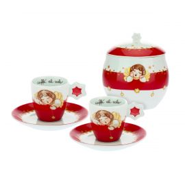 "Set 2 coffee cups with sugar bowl ""Dolce Natale"""
