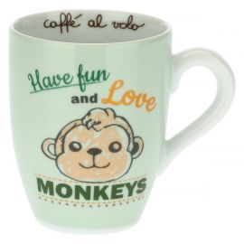 Henkelbecher mit Affe – Have fun and love monkeys